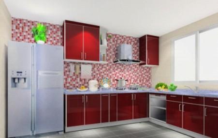 深褐色的厨房背景墙搭配暖黄色的橱柜颜色,清晰的色